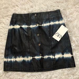 Faux Leather Tie Dye Mini Skirt from ZARA ☺️